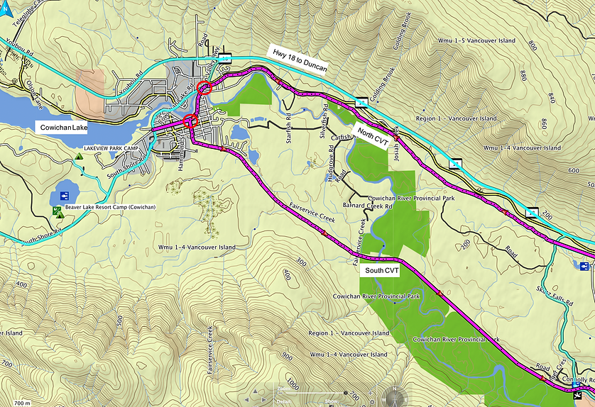 Cowichan Lake village zoom map | Cowichan Valley Trail | south Vancouver Island | map 1 of 3