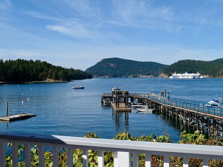 Pub lunch at Springwater Lodge | Miners Bay, Mayne Island | cycle touring south Gulf Islands