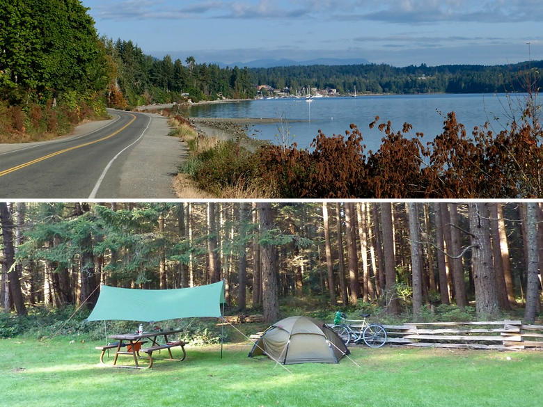Photo collage, cycle touring seaside road to Mill Bay Ferry Terminal, camping at Rathtrevor Provincial Park