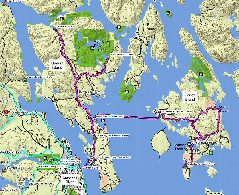 Route map for Fav ride | cycle touring Quadra & Cortes Islands | cycle touring Gulf Islands