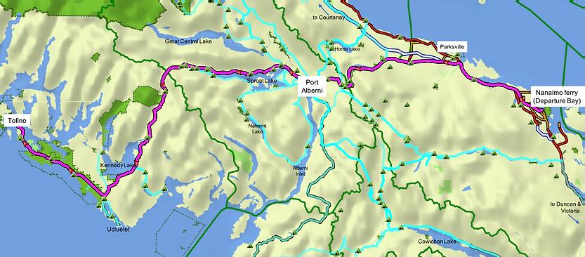 Fav ride route map | cycling Nanaimo to Port Alberni to Tofino | cycle touring Vancouver Island