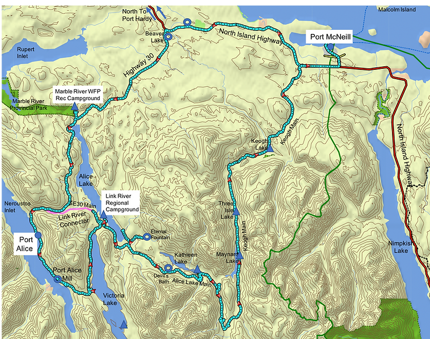 Route map, Alice Lake Loop | cycle touring north Vancouver Island | bikepacking