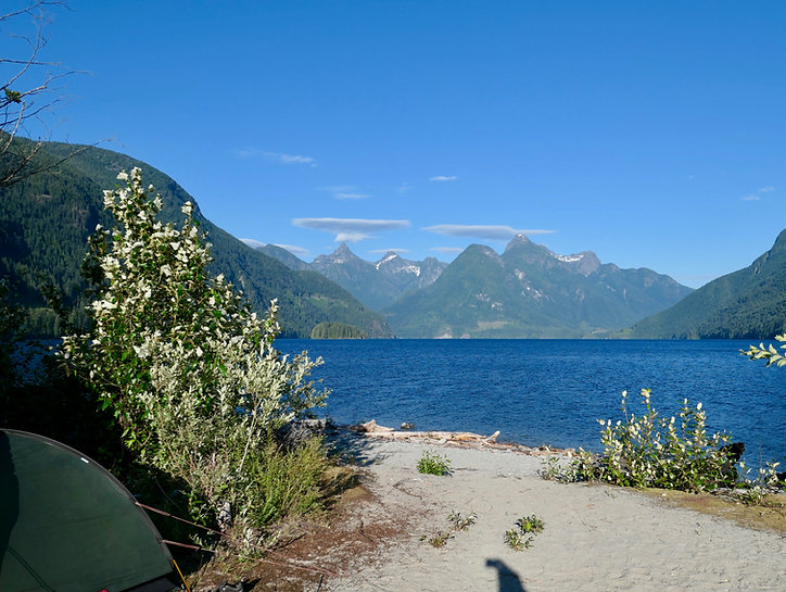 Olsen's Landing Campsite | bikepacking Powell Lake | bikepacking Theodosia