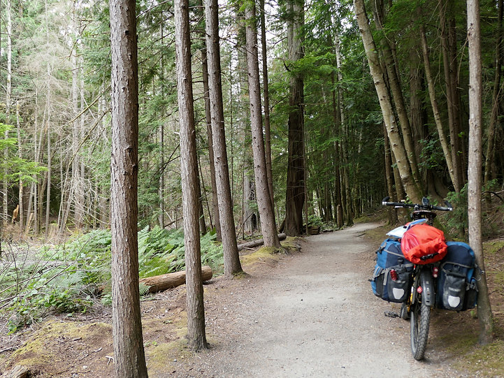 Trail into Smuggler Cove campground | near Halfmoon Bay | cycle touring Sunshine Coast