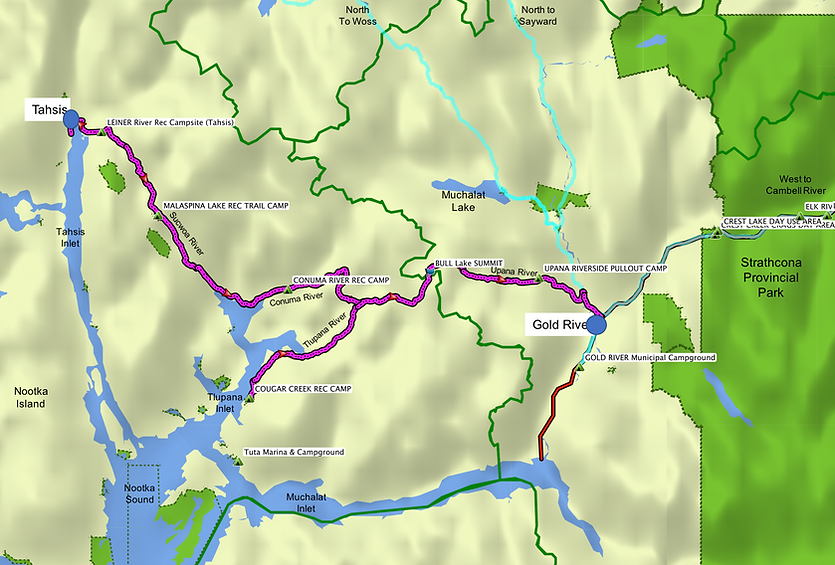 Location & route map | Cougar Creek Rec Camp | cycle touring Vancouver Island