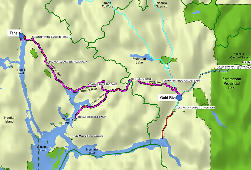 Fav ride route map | bikepacking Gold River to Tahsis | cycle touring Vancouver Island