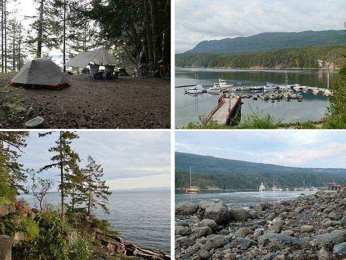 Dinner Rock Rec Camp | Okeover Arm Provincial Campground | cycle touring Malaspina Peninsula
