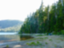 camping shores of Tsable Lake | bikepacking Beaufort Range, west from Courtenay | cycle touring Vancouver Island