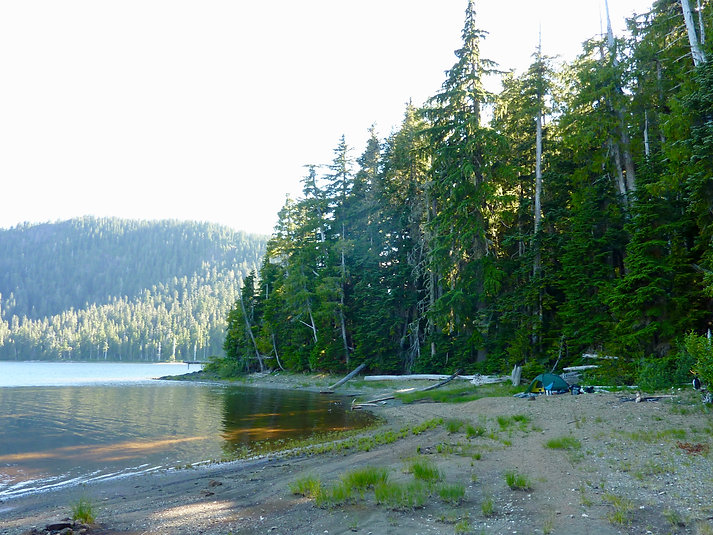 Tsable Lake fav campground | Beaufort Range SW of Courtenay | bikepacking Vancouver Island