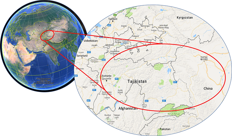 World location map, Tajikistan & Pamir Highway, Xinjiang, bike tour