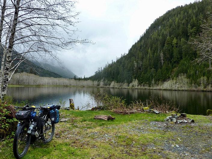 Malaspina Lake informal Camp | bikepacking to Tahsis | cycle touring Vancouver Island