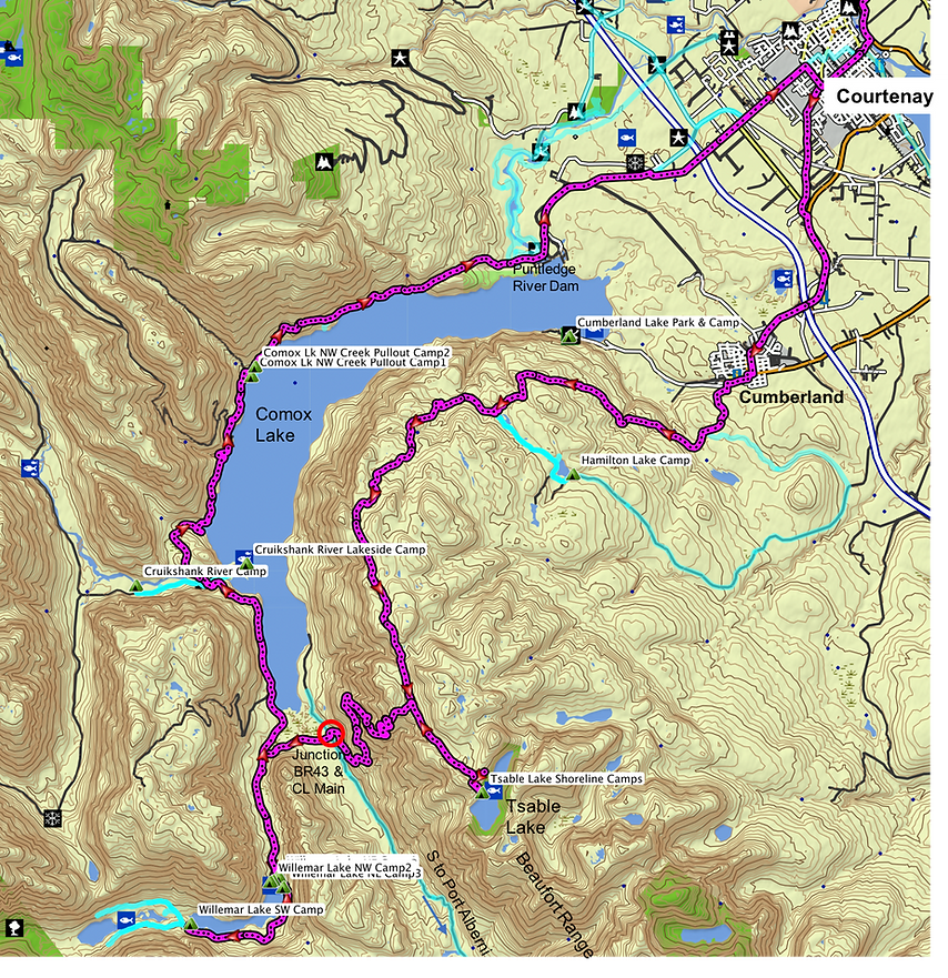 Fav ride route map | Tsable Lake, Comox Lake, Willemar Lake | bikepacking Vancouver Island