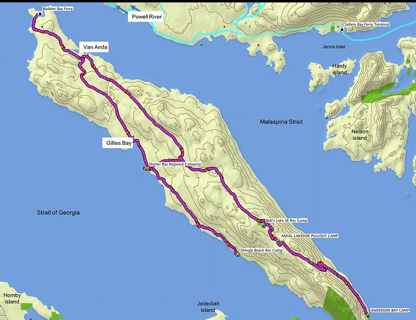 Fav ride route map | bikepacking Texada Island | cycle touring Gulf Islands