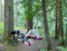 Wild camping on a bikepacking tour in the backroads south of Cowichan Lake, south Vancouver Island
