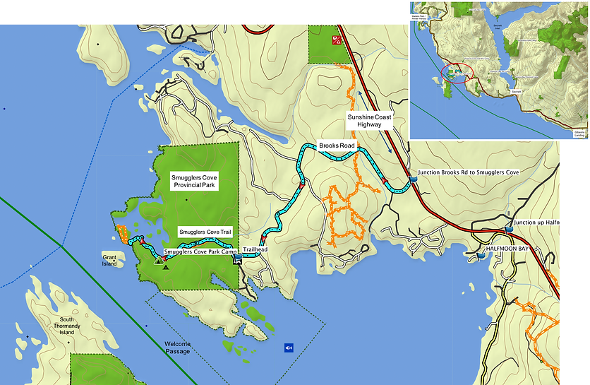 Location & route map | Smuggler Cove Provincial Campground | cycle touring Sunshine Coast