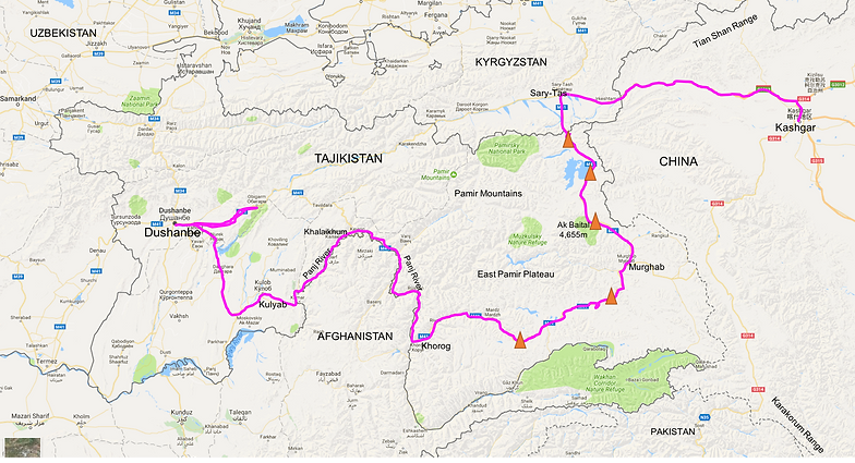 Cycle Tour Tajikistan The Pamir Highway - Dushanbe map