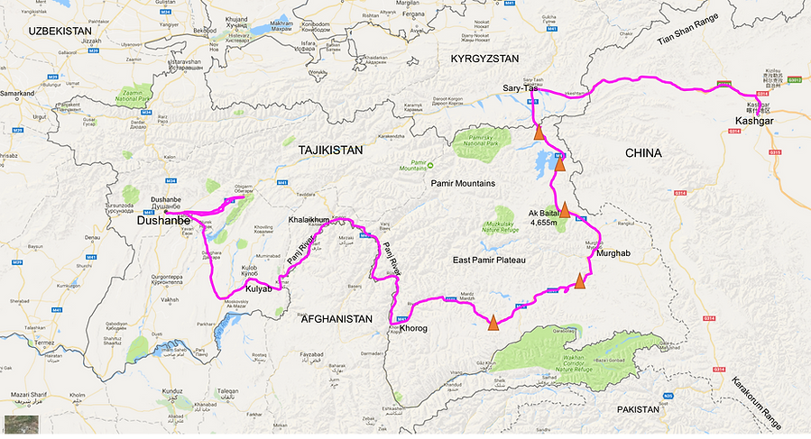 Cycle touring route map | Tajikistan & the Pamir Highway | cycling Xinjiang