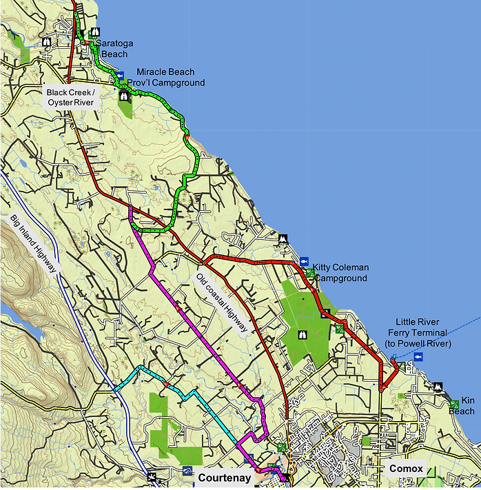 Comox Valley cycling route map | cycle touring Comox Valley