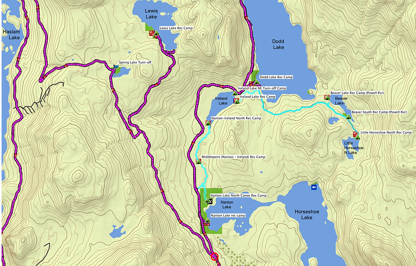 Fav ride route map zoom in | Nanton Lake, Lewis Lake, Dodd Lake | cycle touring north Sunshine Coast