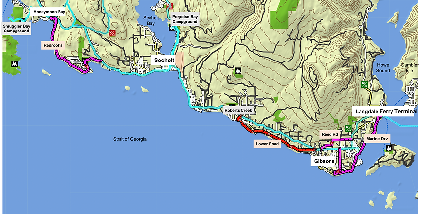 Cycle touring south Sunshine Coast | Cycling route map | off-highway cycling route map