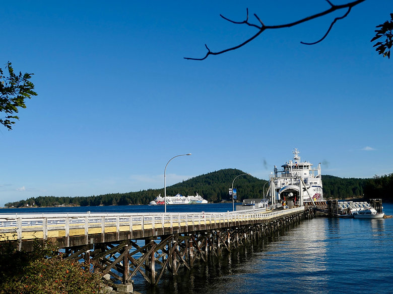 Ferry terminal at Sturdies Bay, Galiano Island, cycle touring the south Gulf Islands