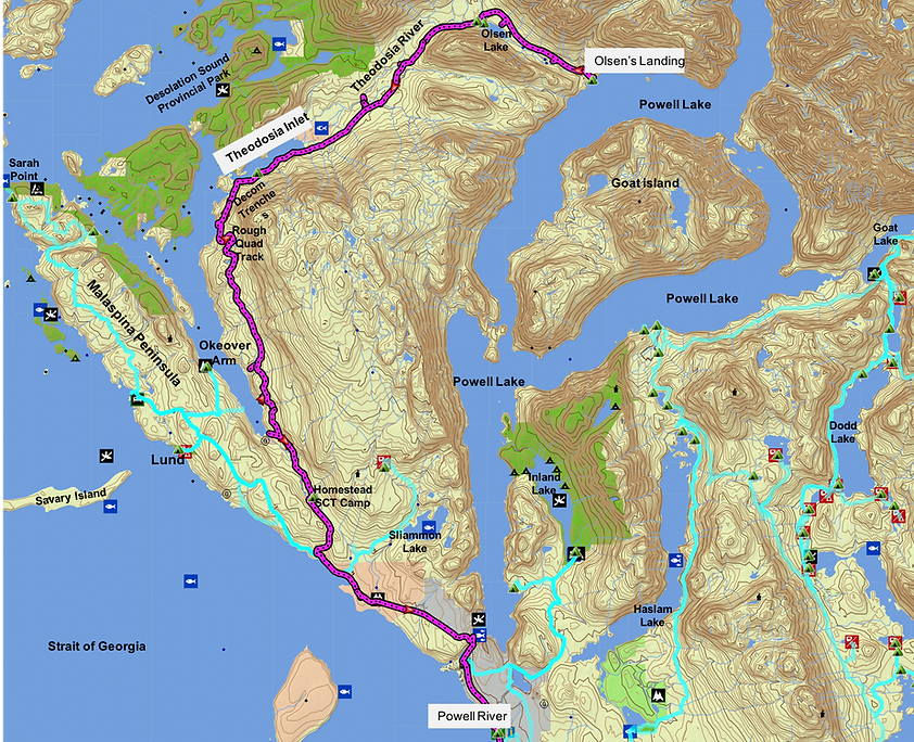 Route map to Theodosia | bikepacking Theodosia | cycle touring Olsen's Landing