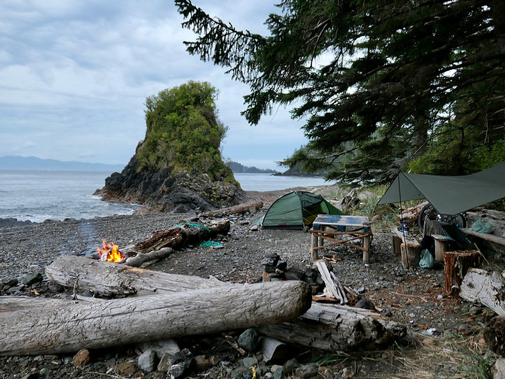 Side Bay campground | bikepacking west of Port Alice | cycle touring north Vancouver Island