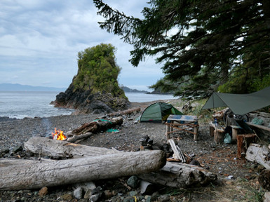 Camping at Side Bay, west of Port Alice