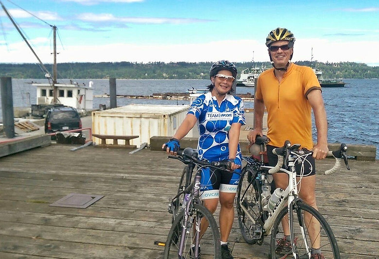 Taking a cycling break at Fanny Bay, central Vancouver Island