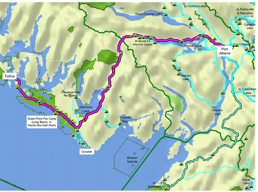 Fav ride route map | cycling Port Alberni to Tofino | cycle touring Vancouver Island