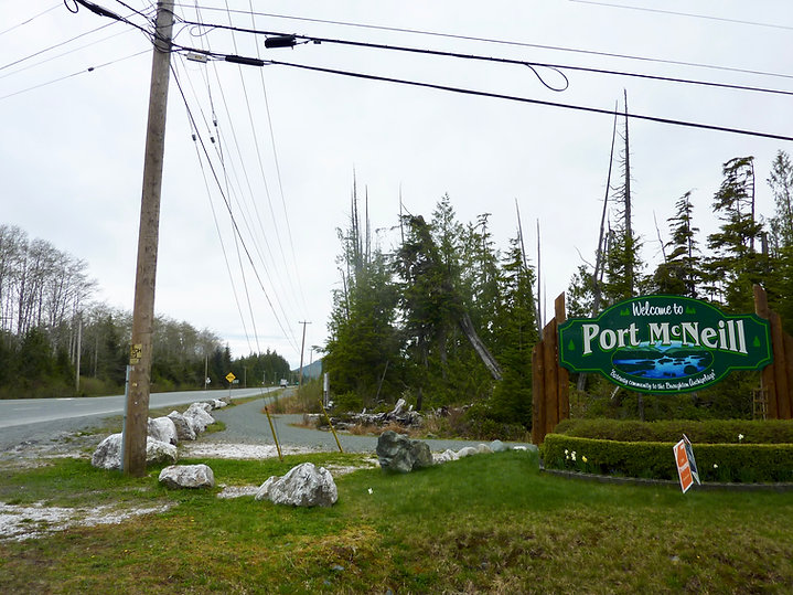 Port McNeill turnoff from North Island Highway | cyle tourig north Vancouver Island