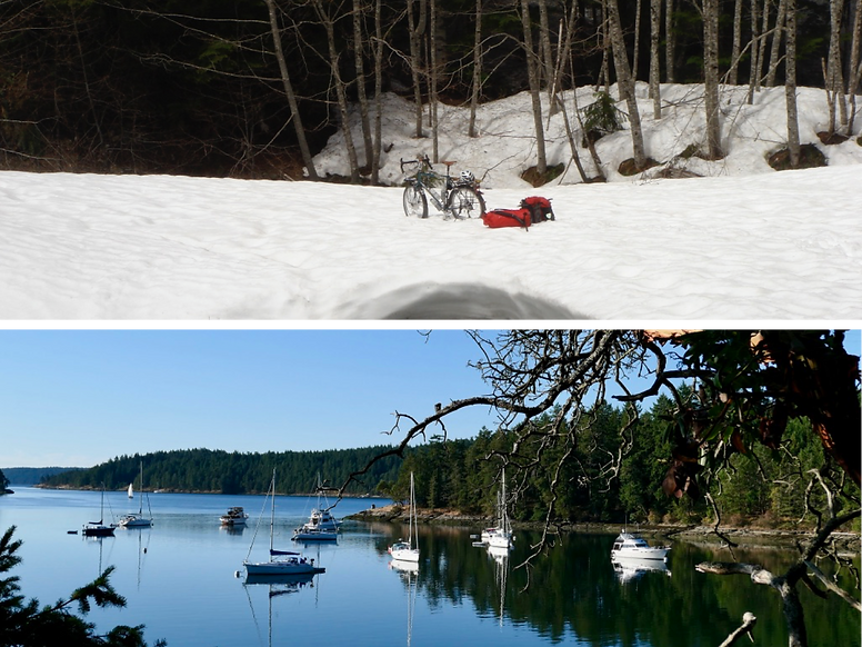 Remote backroads rides (top) may need special gear. Below - relaxing Galiano Island.