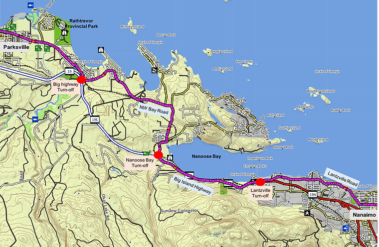 Cycle touring route map | off-highway Nanaimo to Parksville | cycle touring Nanaimo to Parksville | cycle touring central Vancouver Island