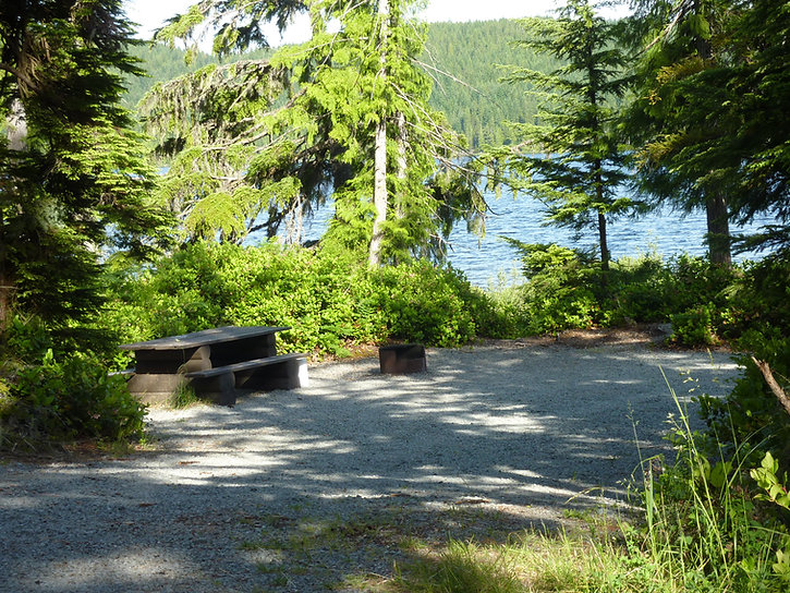 Brewster Lake Rec Camp | bikepacking west from Campbell River | cycle touring Vancouver Island