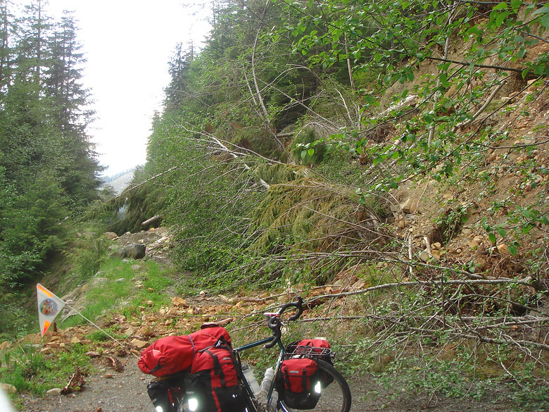 Slide blocking backroad, bikepacking on Walbran Main, near Nitinat Lake