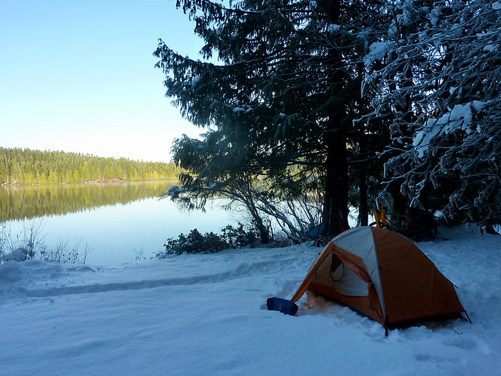 Mountain Hardwear Spire 2.1 tent | Winter camping S Mohun Lake | cycle touring Vancouver Island