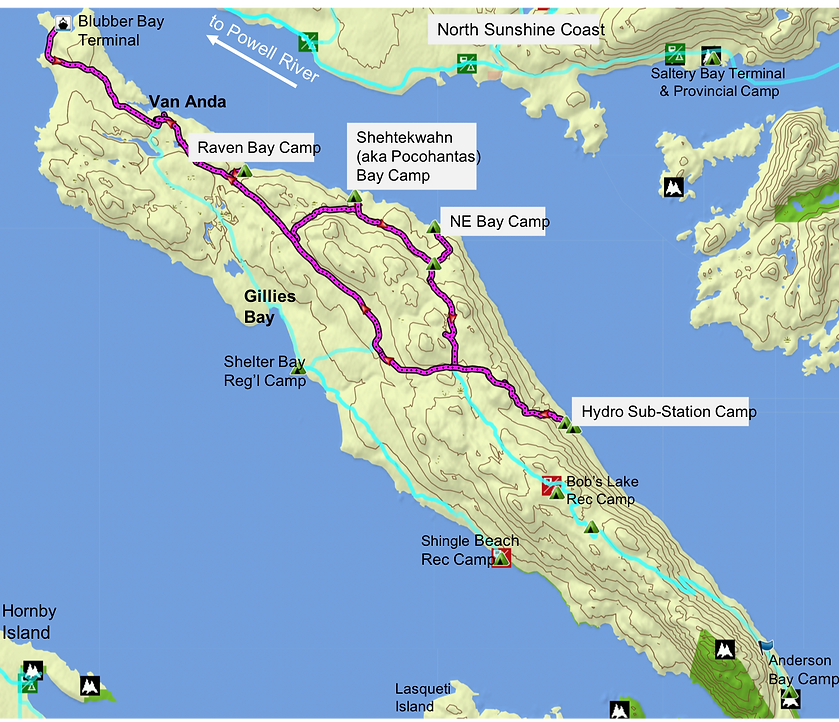 Fav ride route map | bikepacking Texada Island | cycle touring Gulf Islands