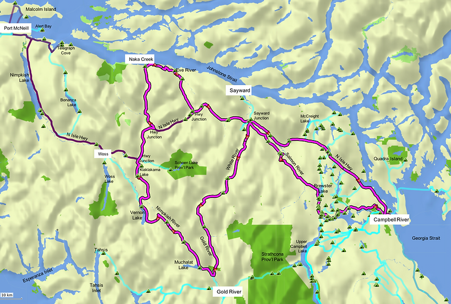 Fav ride Route map | bikepacking north from Campbell River | cycle touring north Vancouver Island