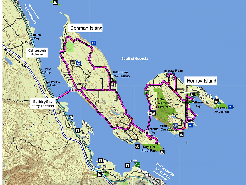 Fav ride route map | cycling Denman Island | Cycling Hornby Island