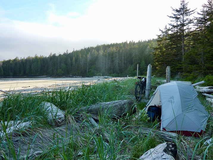 Grant Bay Beach Campground | bikebacking near Winter Harbour | cycle touring NW Vancouver Island