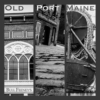 Old Port, Portland Maine in black and wh