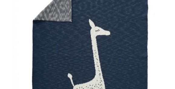 "Couverture tricot ""Girafe"" bleue - Fresk"