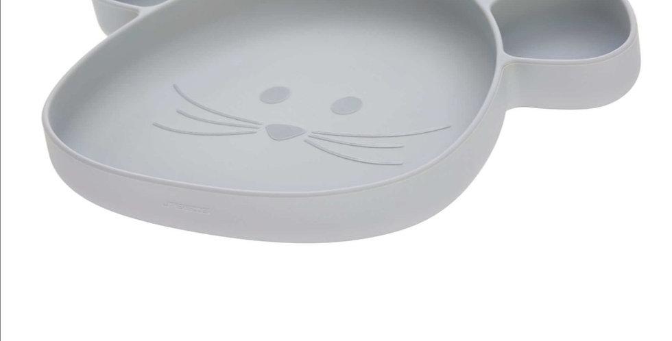Assiette à compartiments en silicone grise - Lassig
