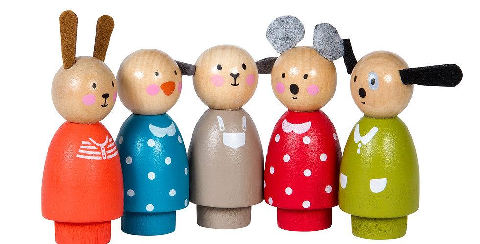 Set de 5 personnages en bois