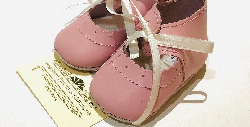 Chaussons bébé ballerine en cuir Rose