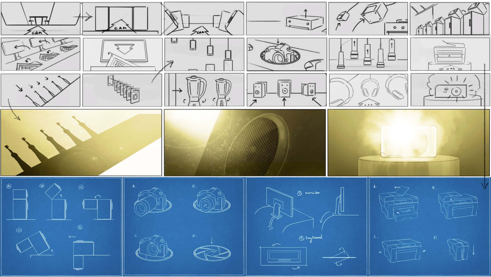 Storyboards and concept drawings for Currys PC World 'Simplicity' | dir. Chris Cairns | Partizan