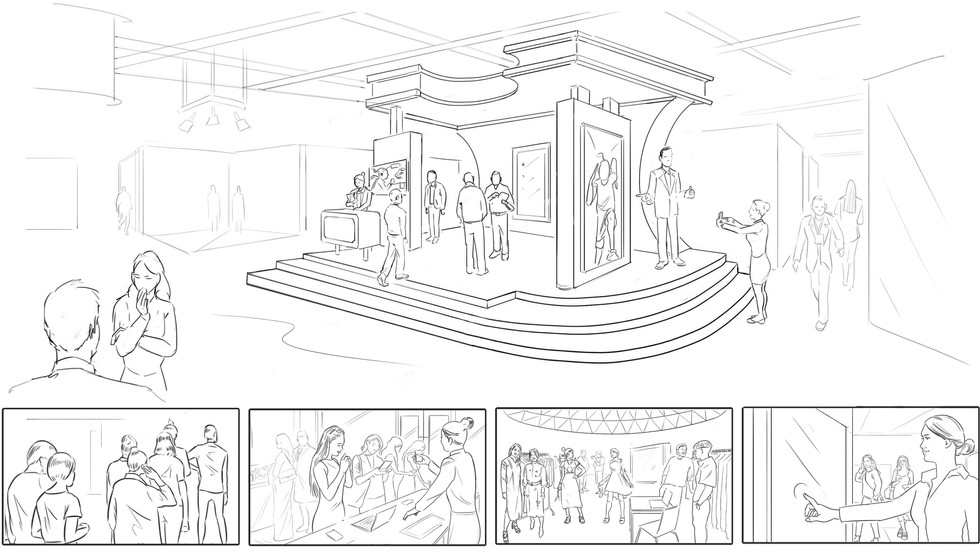 Visual development sketches for an undisclosed event