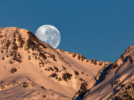 Moon Set over the Southern Alps
