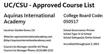 AIA UC-CSU Approved Course List