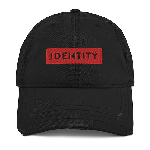 IDENTITY Distressed Hat-Steady (black-red)